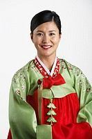 Portrait of Korean woman in traditional dress
