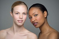 Multi-ethnic women with bare shoulders