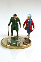elderly people with Euro