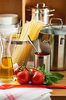 Ingredients for spaghetti with tomato sauce and basil