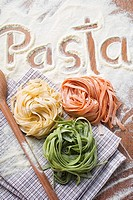 Ribbon pasta in three colours