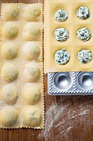 Home-made soft cheese and herb ravioli in ravioli tray