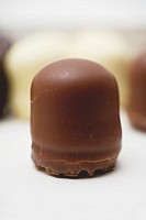 A mini-Dickmann chocolate-covered marshmallow on wafer base