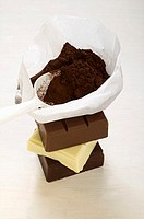Cocoa powder in bag with scoop on pieces of chocolate