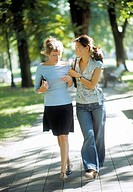 Women walking in park