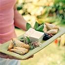 Hostess carrying tray of appetizers