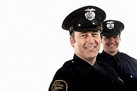 Male police officers smiling (thumbnail)