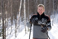 Man cross country skiing