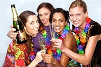 Women friends drinking champagne