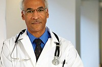 Male African doctor in stethoscope