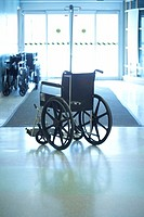 Wheelchair inside hospital entrance