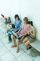 Group of young friends sitting on bench, using laptop