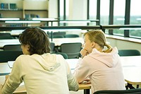 Two college students sitting at table in library, rear view