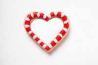 Biscuit heart with red and white decoration