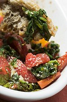 Oven-baked chard and tomatoes with ciabatta