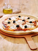 Pizza with mozzarella and olives