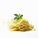 A heap of cooked spaghetti with oregano