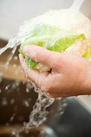Washing cauliflower
