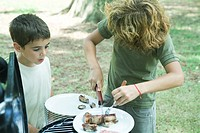 Boy cutting up meat on plate while second boy watches
