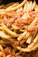 Macaroni with mince sauce close-up