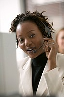 Telemarketer using telephone headset