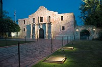 The historic Alamo at dusk in San Antonio, Texas, USA.