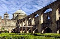 The historic Mission San Jose y San Miguel de Aguayo in San Antonio, Texas, USA.