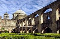 The historic Mission San Jose y San Miguel de Aguayo in San Antonio, Texas, USA.