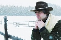 Man Wearing Hat on Winter Day