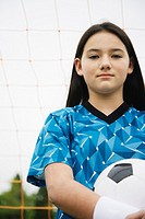 Portrait of preteen soccer player