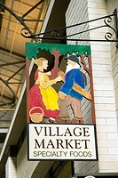 Ferry building farmer's market. Village market store sign. San Francisco. California. USA