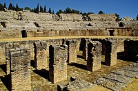 Ruins of the romain amphiteatre , at Italica, Santiponce. Seville. Andalucia. Spain.