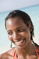 Woman smiling on tropical beach