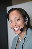 Businesswoman wearing a headset