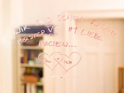 Hearts and text on mirror
