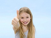 Girl, thumbs up, portrait