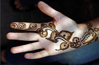 Close-up of a henna tattoo on a woman´s hand