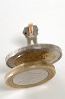 Figurine by coins