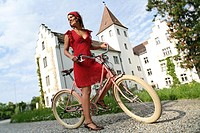 Retro, bike, Outside, woman, Laughing, laughter, puddles, biking, bicycle, bike, biking, bicycle