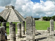 Old ruins of columns at a temple, Temple Of Warriors, Kukulkan Pyramid, Chichen Itza, Yucatan, Mexico