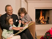 Man reading a storybook to his grandchildren