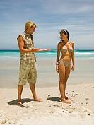 Couple having an argument on the beach