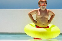 Boy Wearing Inner Tube