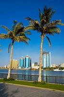 Middle east, UAE (United Arab Emirates), sharjah creek skyline