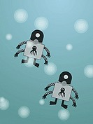 Two robots on a turquoise background
