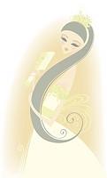 Bride combing her hair
