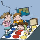 Three children playing connect the dots