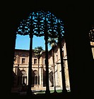 Gothic-Plateresque Cloister of the Knights in the Santa Maria la Real monastery, Najera. La Rioja, Spain