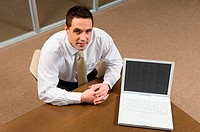 Bank manager with laptop