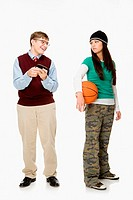 Geek and girl with basketball